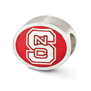 Sterling silver North Carolina State University Bead is Pandora compatible