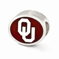 Sterling silver University of Oklahoma bead is Pandora compatible