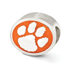 Sterling silver Clemson University Bead.