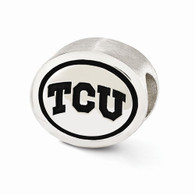 Sterling silver Texas Christian University bead fits most Pandora type charm bracelets