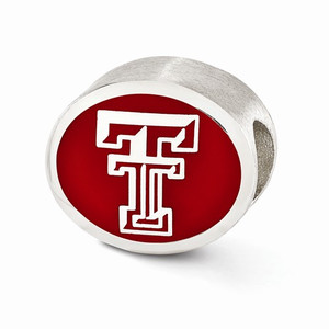 Sterling silver Texas Tech University Bead, compatible with Pandora