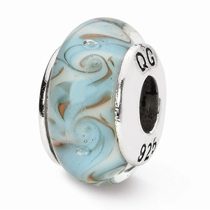 Ocean Waves Handblown Glass Bead. Compatible with most other brands bracelets