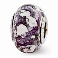 Purple & White ceramic bead is Pandora compatible