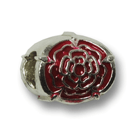 Sterling Silver Lancaster, PA Red Rose Charm. Compatible with Pandora.