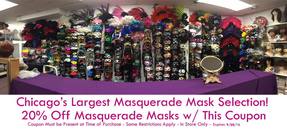 Fantasy Costumes Chicago homepage banner showing Mardi Gras and masquerade masks available to purchase.