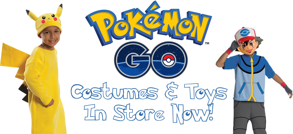 Fantasy Costumes Chicago homepage banner showing Pokemon Go costumes including Pikachu and Ash Ketchum.