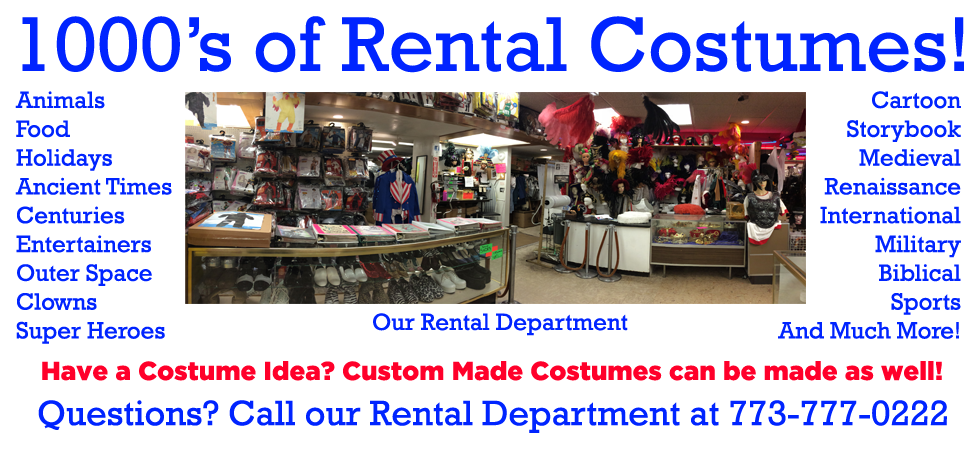 Fantasy Costumes Chicago homepage banner showing thousands of rental costumes available in store.