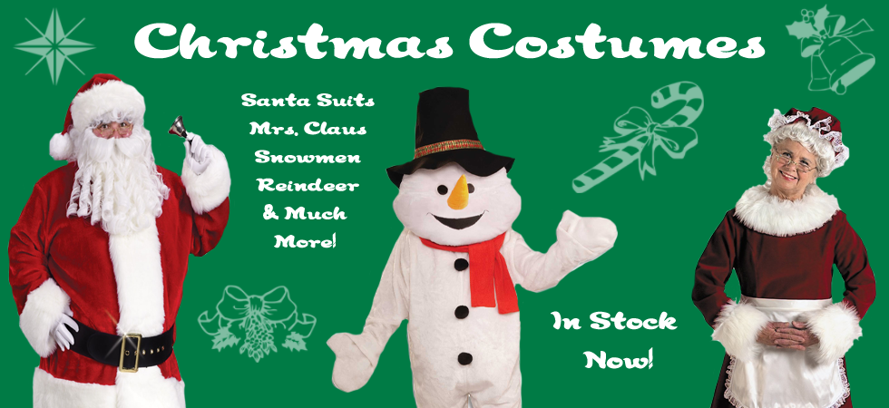 Fantasy Costumes Chicago has a huge selection of Christmas costumes for sale and for rent including ones featured here such as Santa Claus, Mrs. Claus and Snowmen.