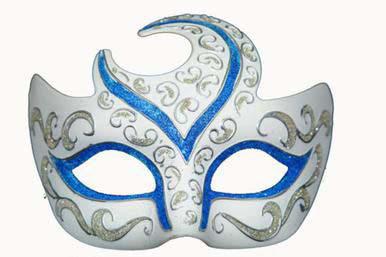 blue venetian half moon masquerade mask