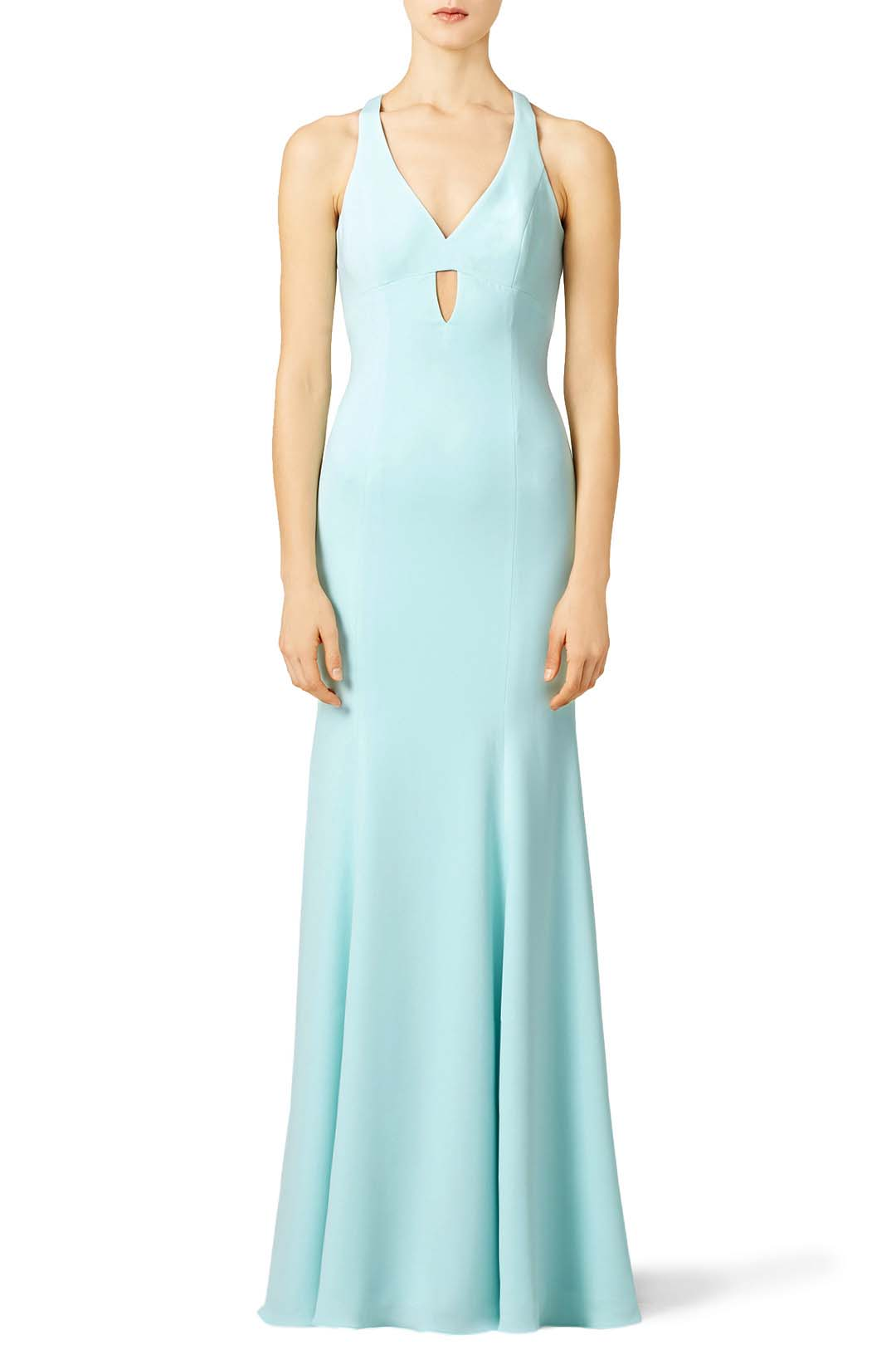 rent the runway jay godfrey aqua diamond cut ball gown