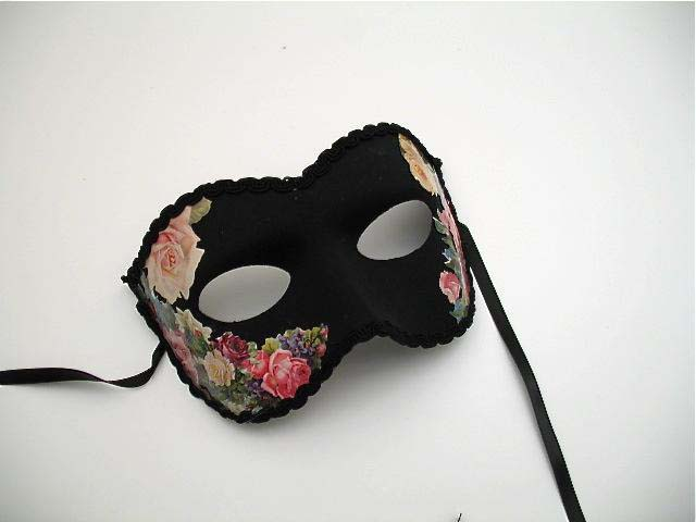 black blooming mardi gras flowered mask