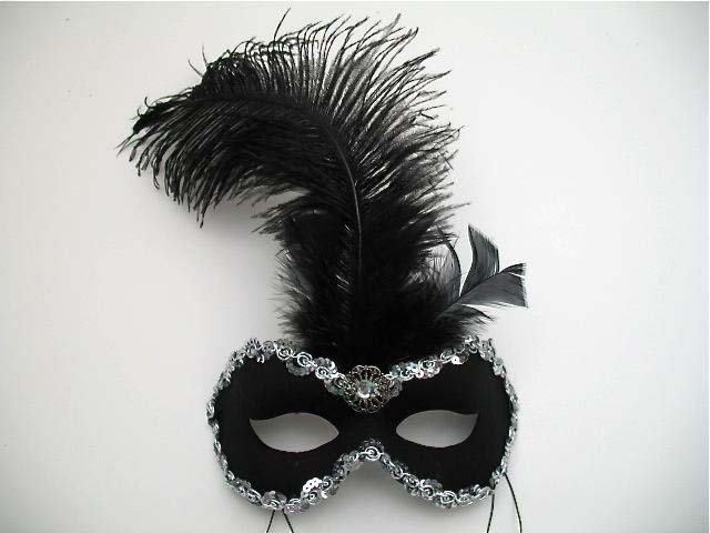 black silver danube masquerade feather mask