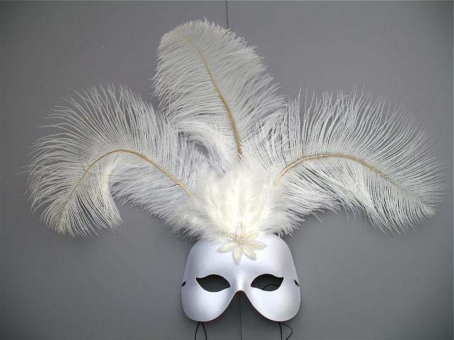 white princess masquerade feather mask