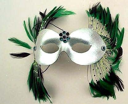 silver green odyssey masquerade feather mask