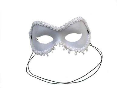 white raindrop shaped masquerade mask