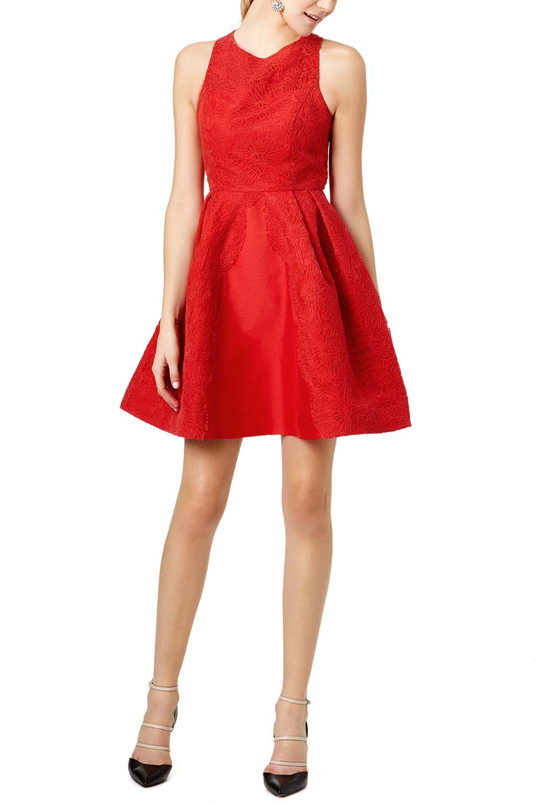 monique lhuillier red mark dress