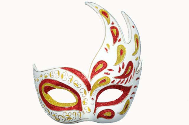 red gold venetian wave masquerade mask