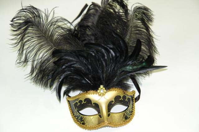 black and gold venetian feather masquerade mask