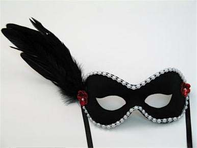 black portia masquerade feather mask