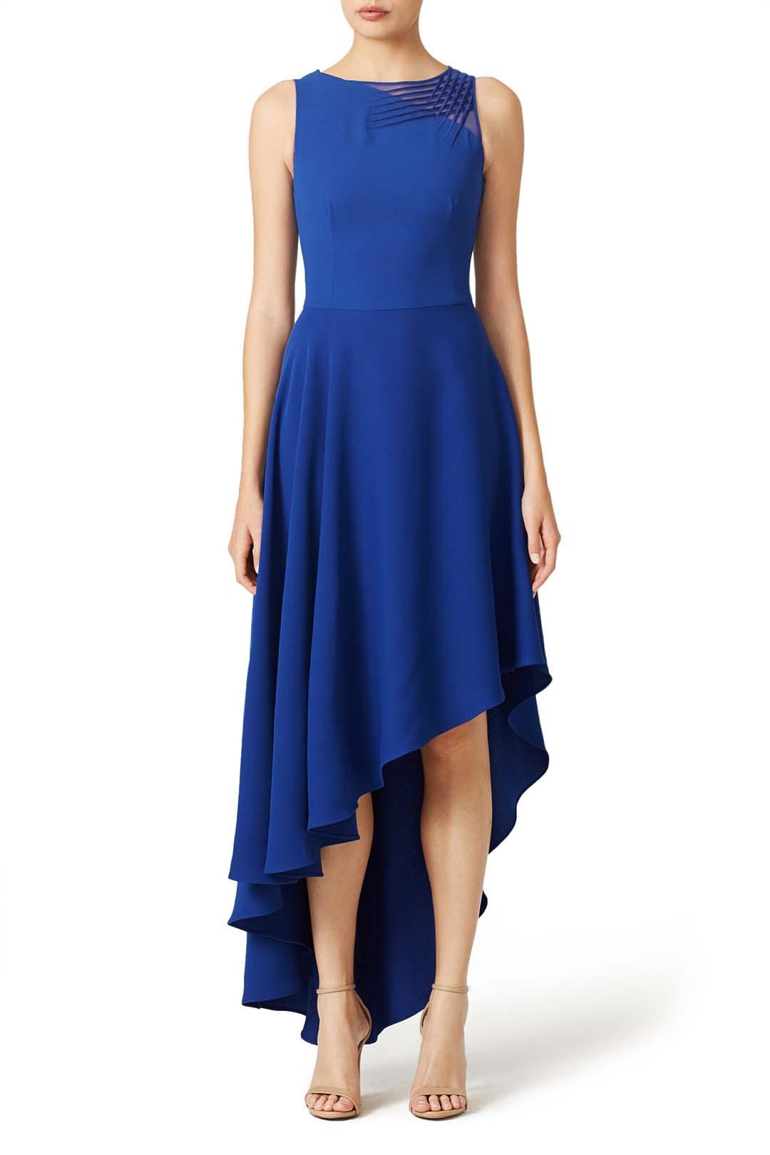 blue halston heritage indigo lavelle masquerade gown