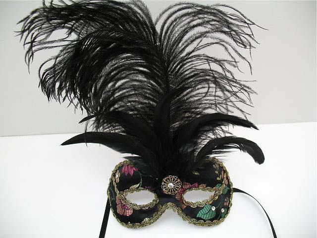 emiko feather and rhinestone mask
