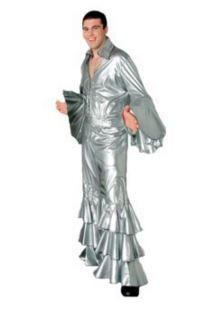 70s disco costume, silver mens with fringe