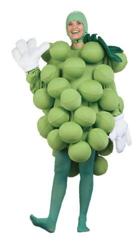 Food and beverage costumes for rent showing a woman in a grape suit