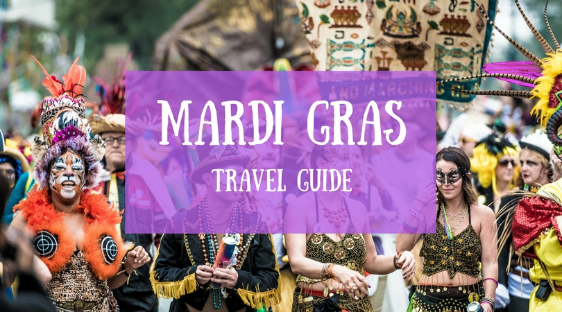 MARDI GRAS TRAVEL GUIDE COVER IMAGE SHOWING CROWDS AT MARDI GRAS IN NEW ORLEANS