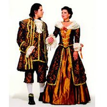 Man and woman holding hands in renaissance faire outfits