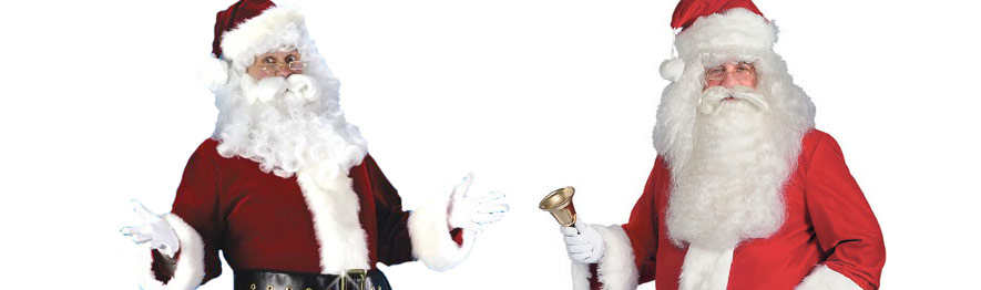 Santa suit outfit rentals in Chicago and online. Two Santa outfits displayed as the banner on a page about Santa Claus costume rentals.
