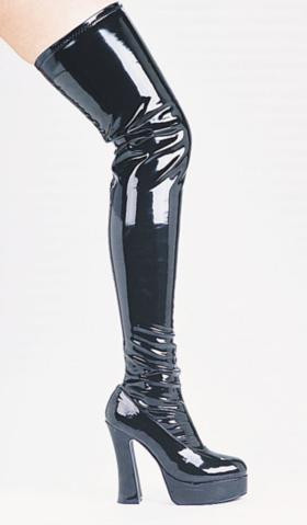 THIGH HIGH ZIP UP BOOTS BLACK