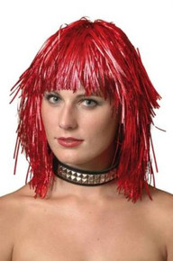 WIG TINSEL RED