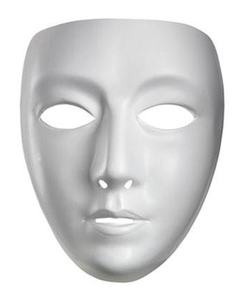 FACEMASK FEMALE WHITE PLASTIC