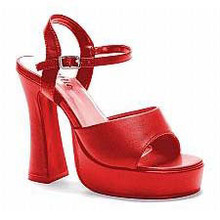 Platform Lea Patent Leather Pumps Red