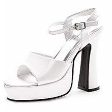 Platform Lea Patent Leather Pumps White