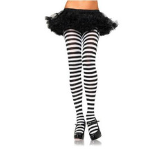 TIGHTS BLACK & WHITE STRIPED
