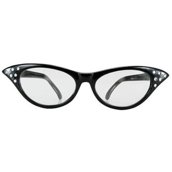 RHINESTONE 50'S CAT EYE GLASSES BLACK