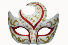 VENETIAN HALF MOON MASK-WHT/RED