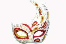 VENETIAN WAVE MASK- RED/GLD