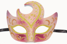 VENETIAN HALF MOON MASK- PINK/GOLD