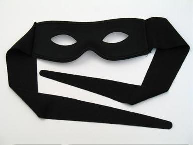 Black zorro style wrap around mask