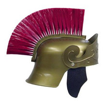 ROMAN HELMET GOLD W/ RED BRUSH