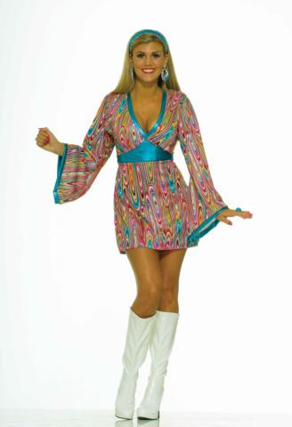 60'S WILD SWIRL DRESS COSTUME ADULT