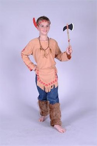 BUCKSKIN INDIAN BRAVE COSTUME CHILD
