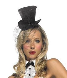MINI BLACK GLITTER TOP HAT W/ VEIL