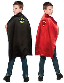 BATMAN & SUPERMAN REVERSIBLE CAPE CHILD SZ