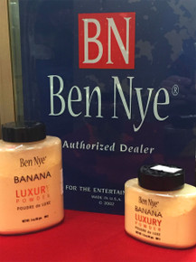 Ben Nye Banana Powder 3 oz and 1.5 oz bottles photographed in our store. We are an authorized Ben Nye dealer and have been for decades.