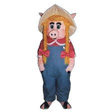 Farmer Pig Woman Mascot Costume (Rental)