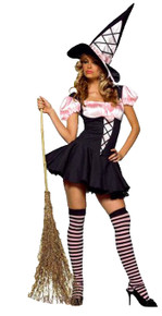 Witch Pink & Black Adult Costume
