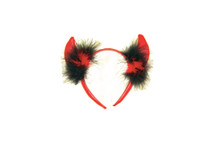 Devil Horns Faux Leather Red